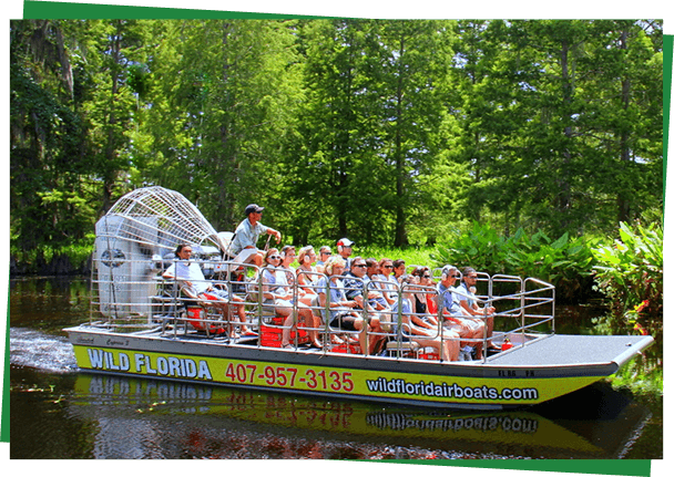 An airboat on the water at Wild Florida near Kissimmee, Florida