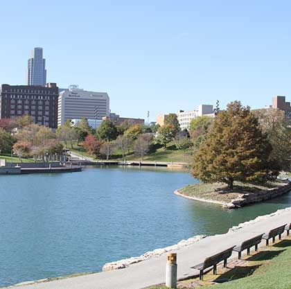 Memorial Park's lake, in Omaha