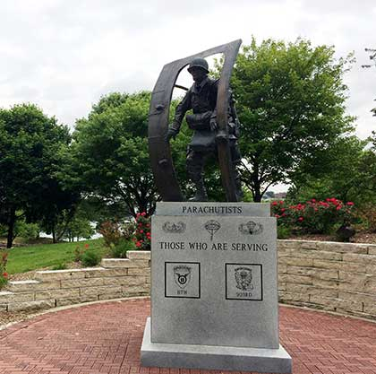 Parachutists statue at Memorial Park in Omaha