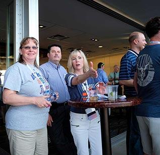 Meeting attendees talk outside in Omaha, Nebraska