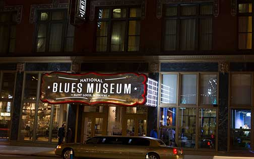 The entrance and main sign for the National Blues Museum in St. Louis, Missouri