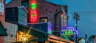 A neon sign for the Broadway Oyster Bar in St. Louis, Missouri