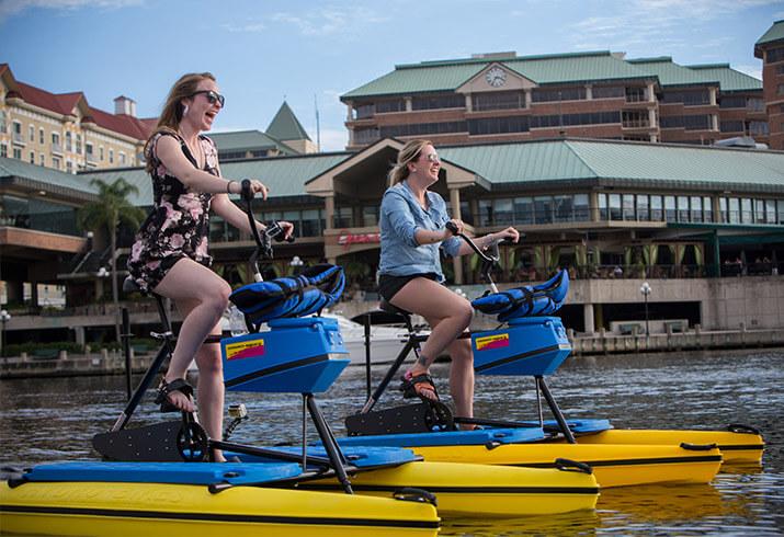 Tour Tampa Bay by water bike.