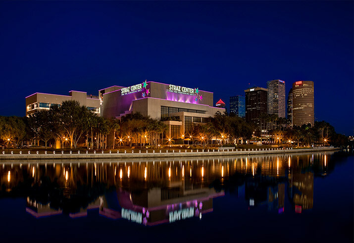 The Straz Center lights up Tampa Bay at night.
