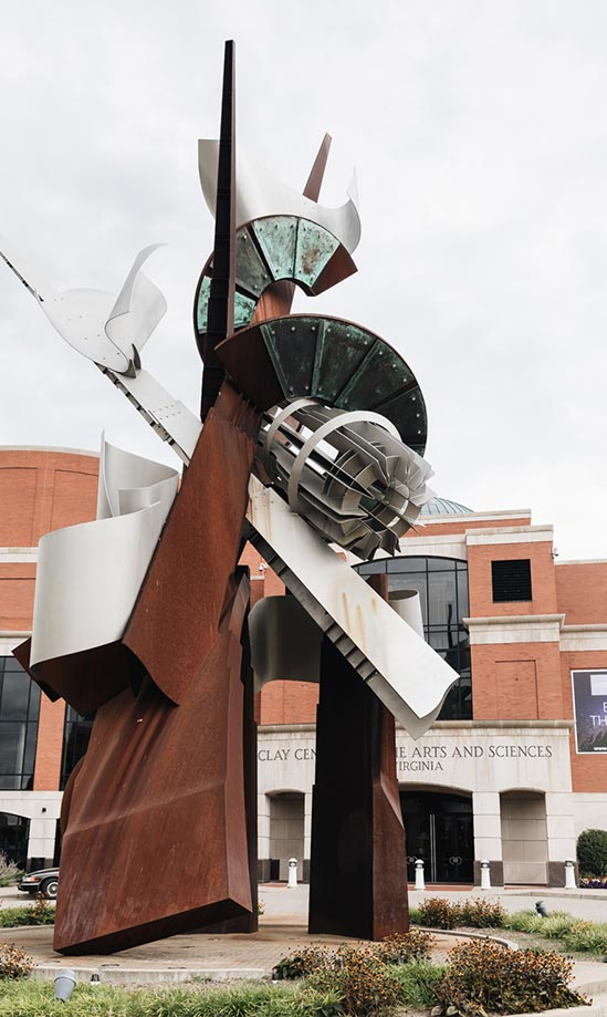 Painted steel abstract sculpture, Hallelujah, by Albert Paley in the plaza of the Clay Center for Arts & Sciences in Charleston, West Virginia
