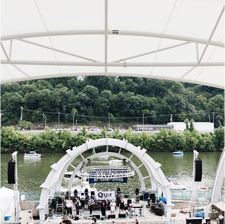 View of band playing at Live on the Levee in Charleston, West Virginia