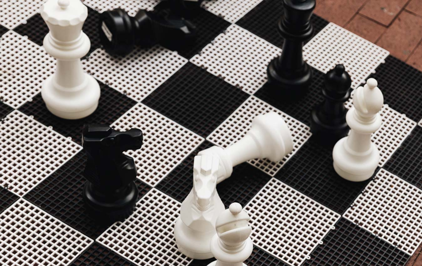 Close-up view of black and white chess set in Charleston, West Virginia