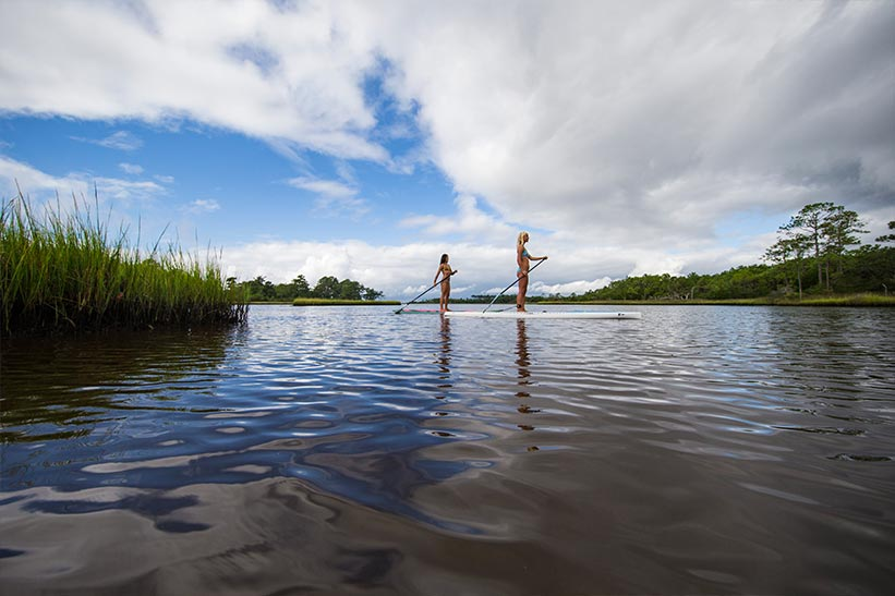 Paddleboarding trails on Taylor's Creek, Bogue Sound and Down East's Core Sound on North Carolina's Crystal Coast