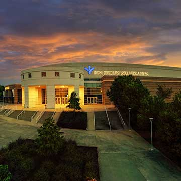 An exterior photograph of Bon Secours Wellness Arena in Greenville, South Carolina