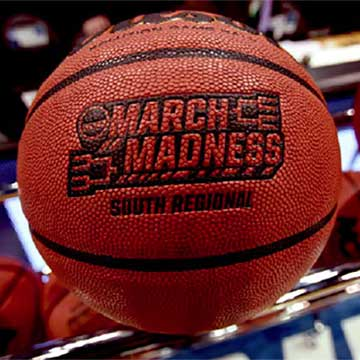 Close-up photo of a March Madness-branded basketball in Greenville, South Carolina