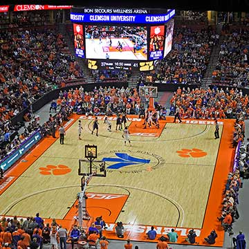 A Clemson University basketball game in Bon Secours Wellness Arena in Greenville, South Carolina