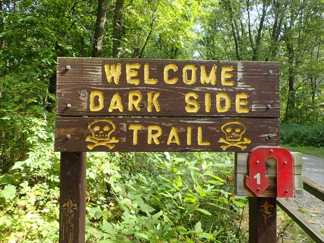 A brown wooden sign for the Dark Side Trail at Imagination Glen in Indiana Dunes, Indiana