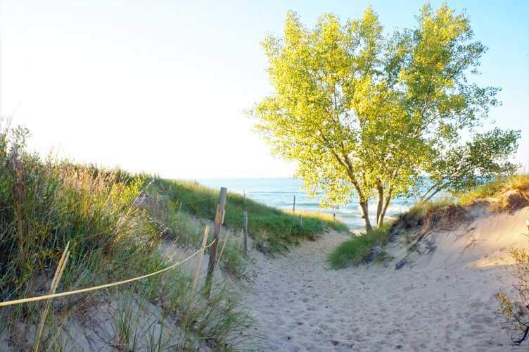 A sandy path leads to West Beach in Indiana Dunes, Indiana
