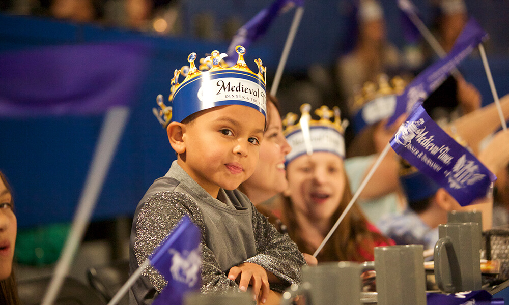 A young boy at Medieval Times in Kissimmee, Florida