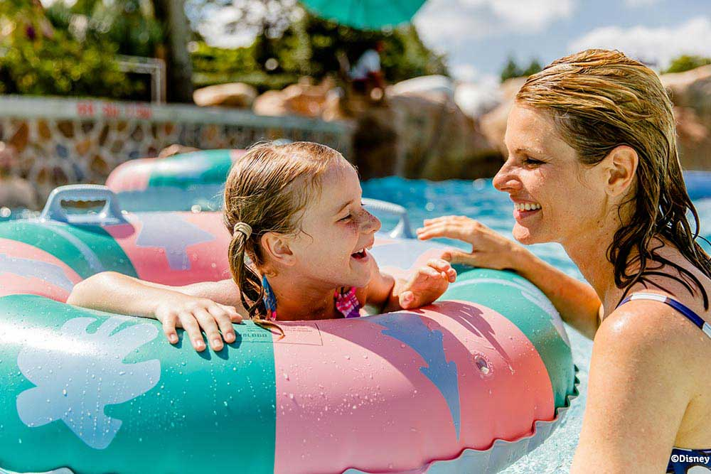 A mother and daughter at Disney's Blizzard Beach water park near Kissimmee, Florida