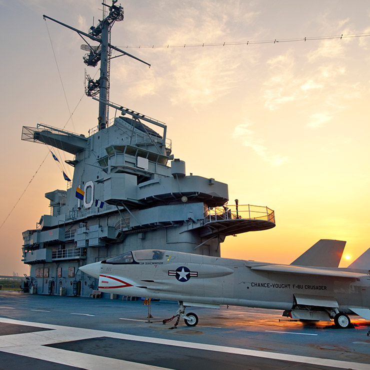 An F-8 Crusader on the USS Yorktown in Mount Pleasant, South Carolina
