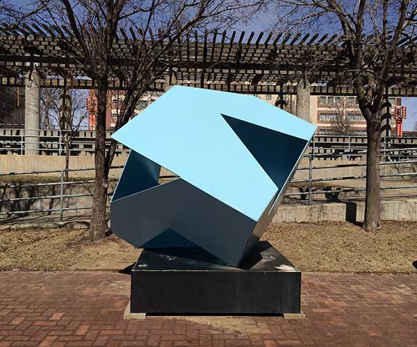 The Shadow Box sculpture by Tom Sitzman in the Gene Leahy Mall in downtown Omaha, Nebraska