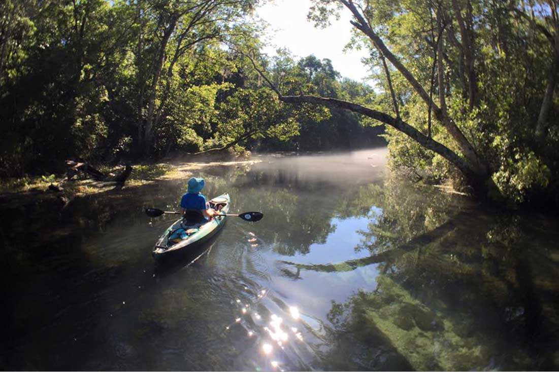Kayaker paddles river trail in Tallahassee, Florida