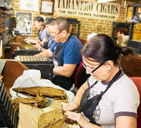 Cigar rollers in Ybor City, Tampa, Florida