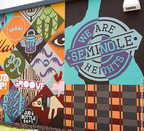 Public mural on side of Fodder & Shine in Seminole Heights, Tampa, Florida