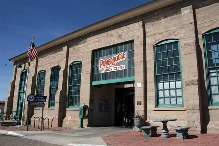 The Powerhouse, a concrete structure built in 1907 in Kingman, Arizona, once served as an electrical power plant and now houses a visitor center and the Route 66 Museum