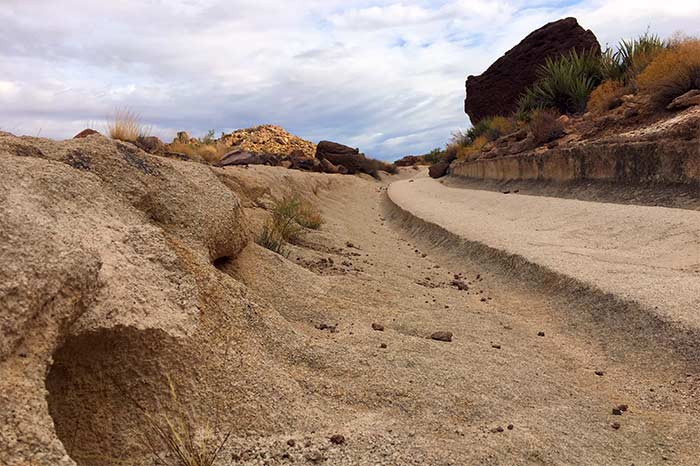 A section of the White Cliffs Wagon Trail in Kingman, Arizona, where wagon wheels cut into the earth and left indentations
