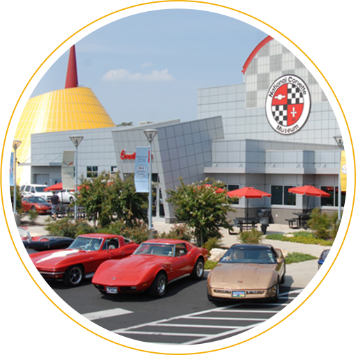 Classic Corvettes parked outside the National Corvette Museum in Bowling Green, Kentucky