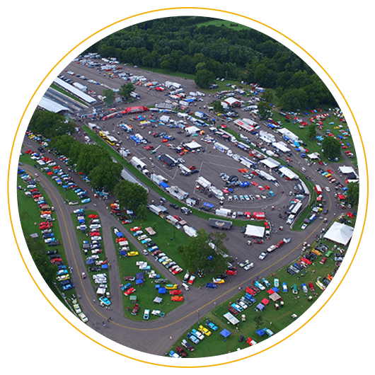 Aerial view of The Danchuk Tri-Five Nationals car show in Bowling Green, Kentucky