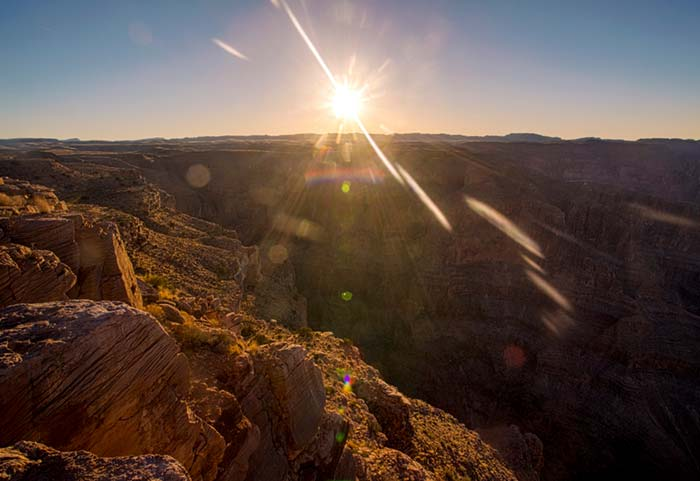 A sunset view of the Grand Canyon from Arizona's Grand Canyon West.