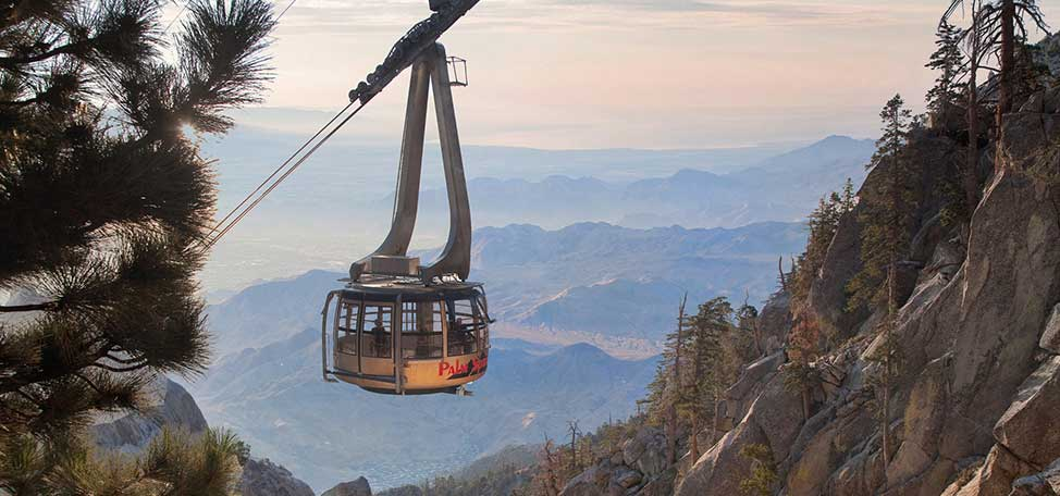 Palm Springs Aerial Tramway over the San Jacinto Mountains in California
