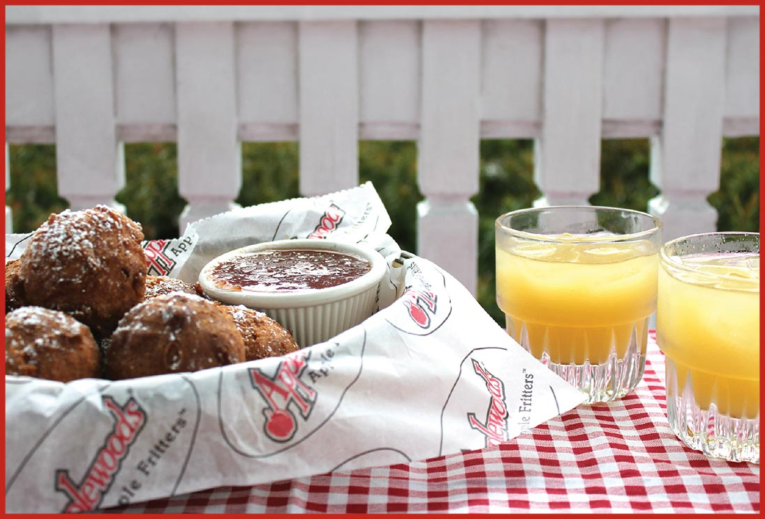 Applewoods Apple Fritters and juice from Applewood Farmhouse Restaurant in Sevierville, Tennessee