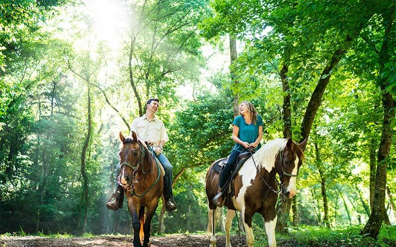 Horseback riding in Dogwood Canyon at Table Rock Lake, MO