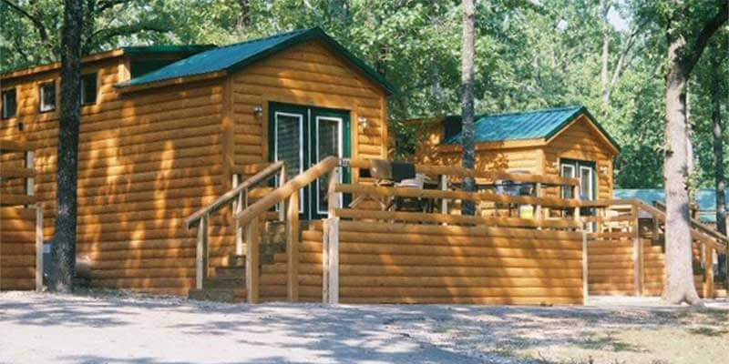Log cabins at the Port of Kimberling Marina & Resort in Table Rock Lake, MO