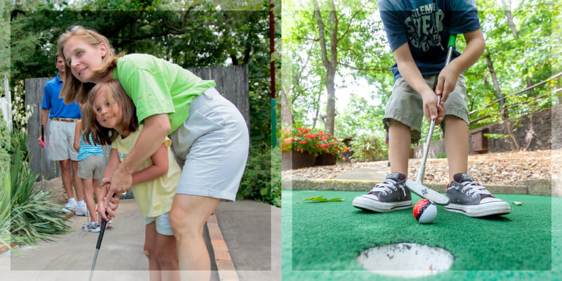 A mother helps her daughter swing the putter and a boy tries to putt a Pokeball-painted golf ball into the hole at Sugar Creek Miniature Golf in Lake Ozark, Missouri