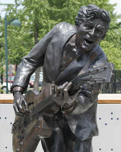 The statue of legendary Chuck Berry in St. Louis