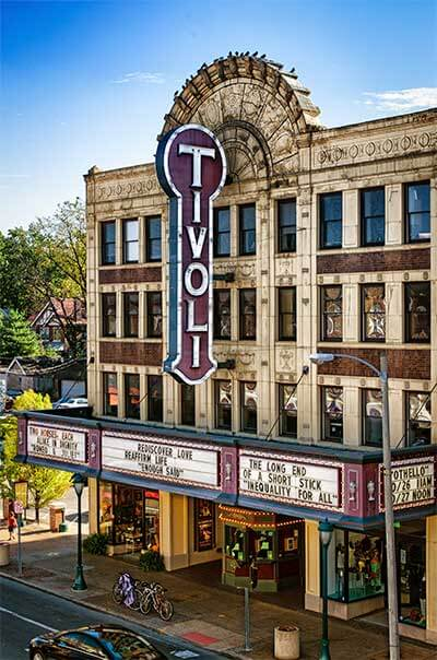 The exterior of Tivoli Theatre in St. Louis