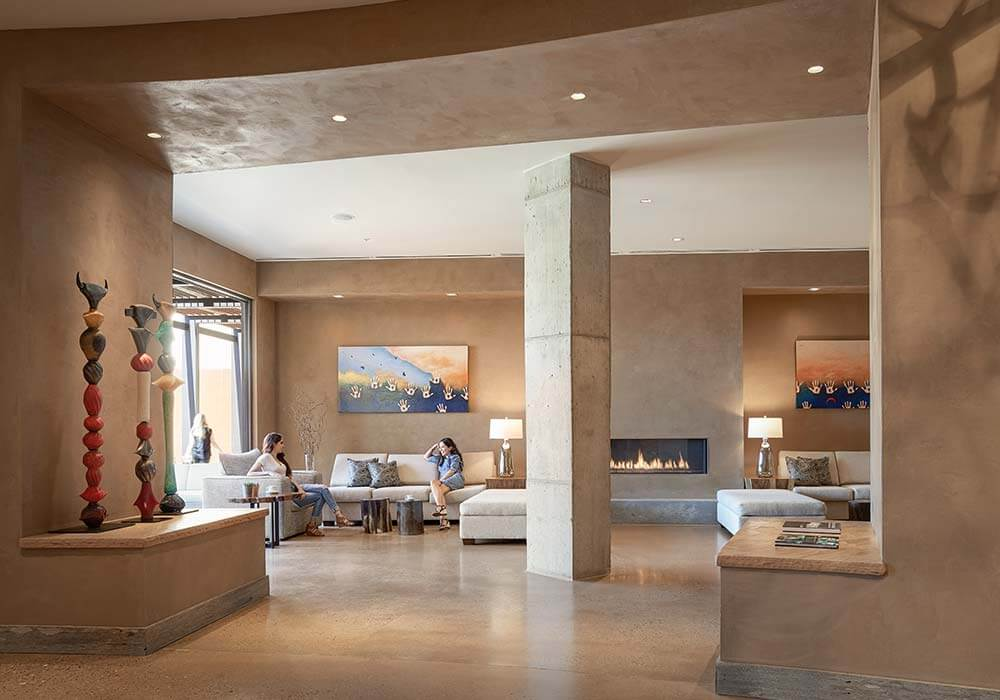 The modern and bold lobby of the Hotel Chaco in Albuquerque New Mexico.