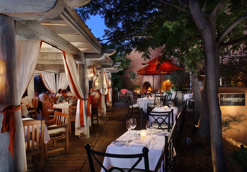 A view of the Luminaria Restaurant and Patio at the Inn and Spa at Loretto.