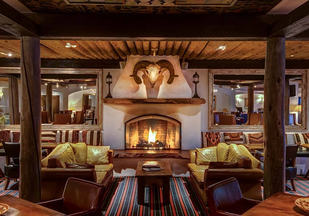 A comfortable and rustic lobby at the Inn and Spa at Loretto.
