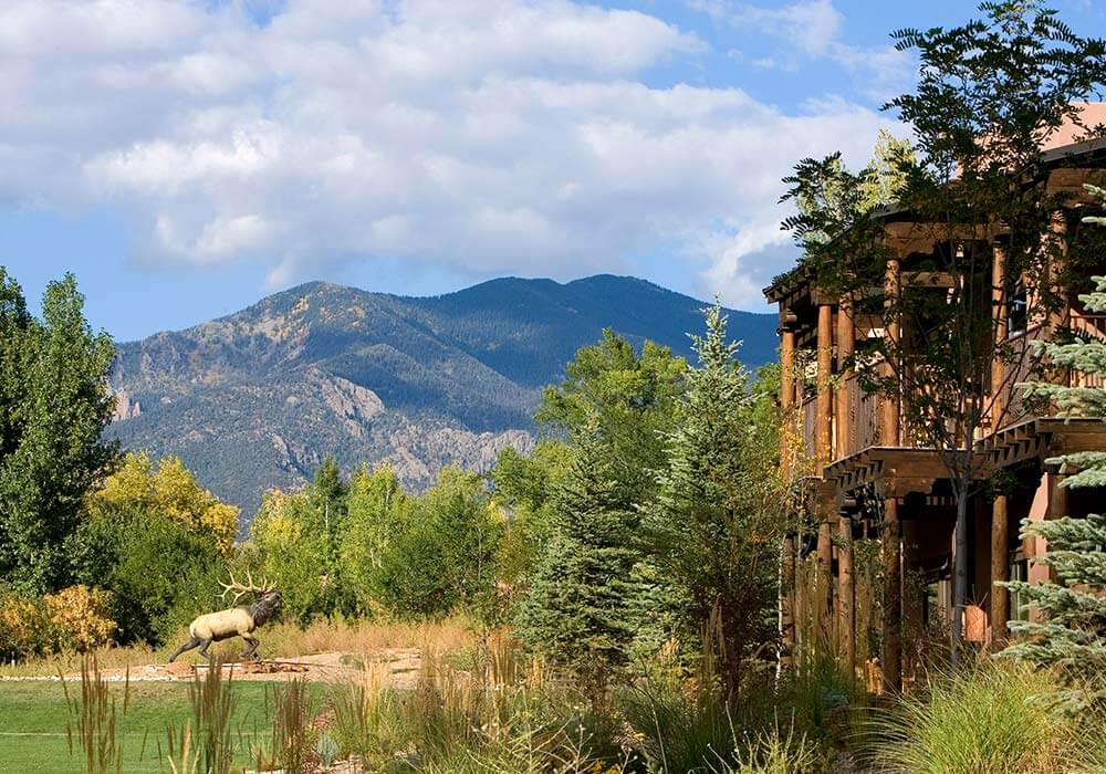 Mountain views and lush lawns surround the El Monte Sagrado Resort.