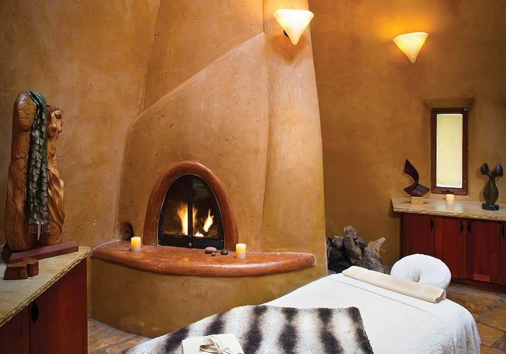 A cozy chimenea in the spa at the El Monte Sagrado Resort in Tao New Mexico.