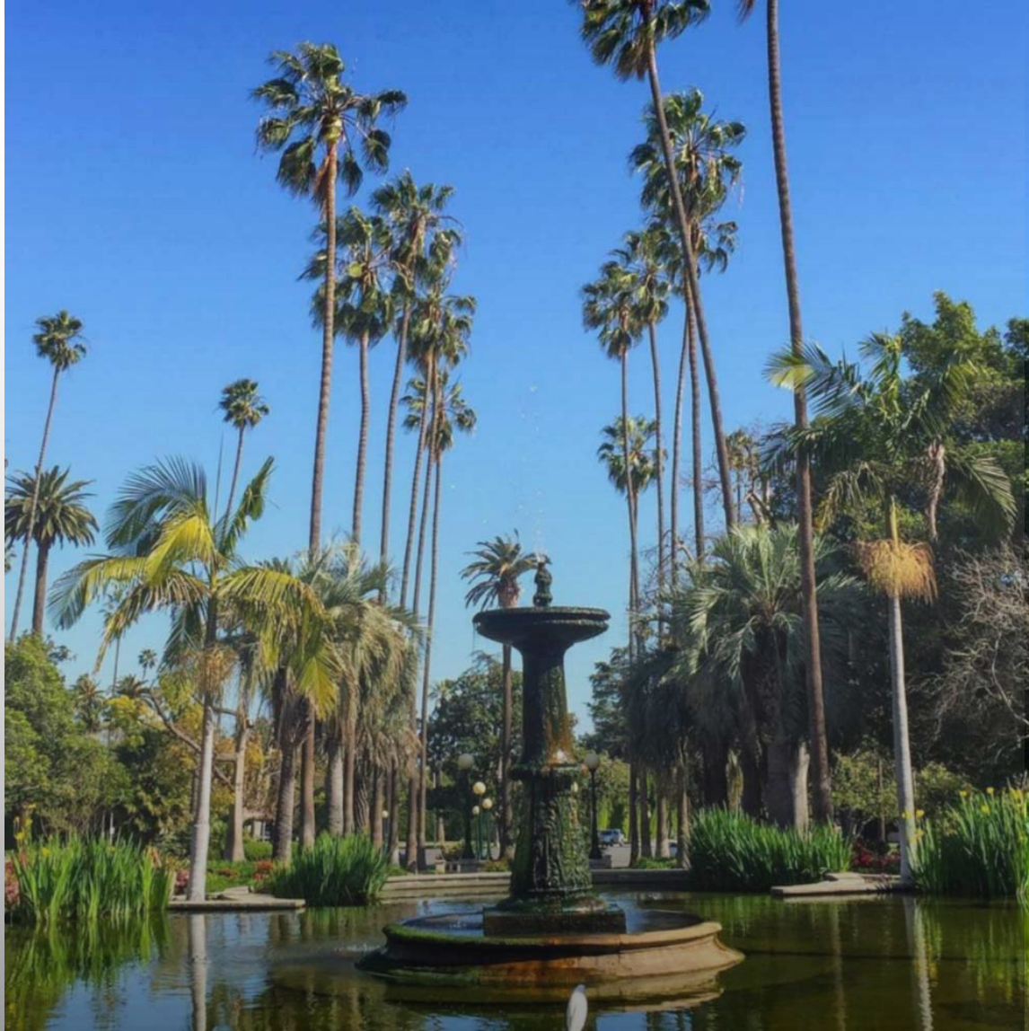 A view of the fountain in Will Rogers Memorial Park in Beverly Hills, CA. Instagram photo by @surfer_rosa