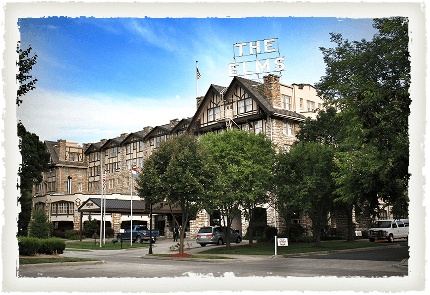 The exterior of The Elms Hotel in Excelsior Springs, MO