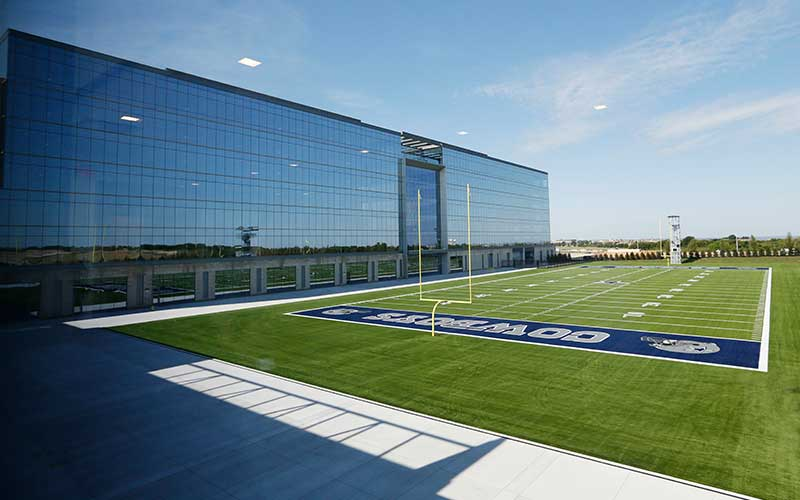 The Dallas Cowboys practice field at the Ford Center in Frisco, Texas