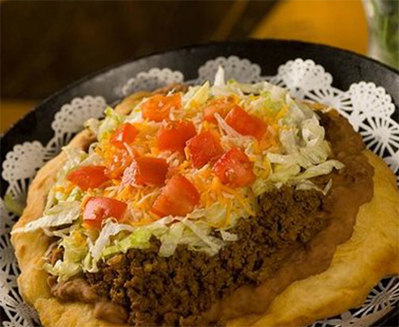 A Hualapai Taco on a plate at Grand Canyon West