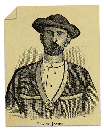 A drawing of Frank James