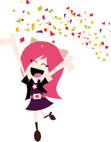 A cartoon character throwing confetti.