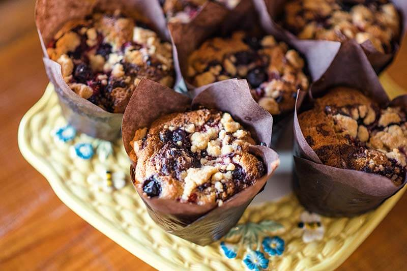 Delicious looking muffins at Morty & Edna's in Sebring, Florida.