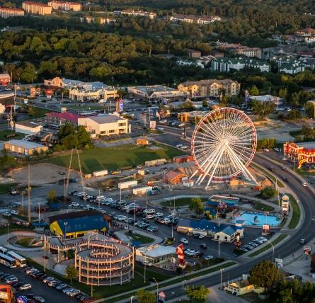 An aerial photograph of The Tracks Family Fun Park at dusk