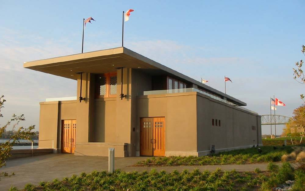 The Fontana Rowing Boathouse, initially designed by Frank Lloyd Wright more than a century ago, was completed in 2007 on Buffalo's waterfront.